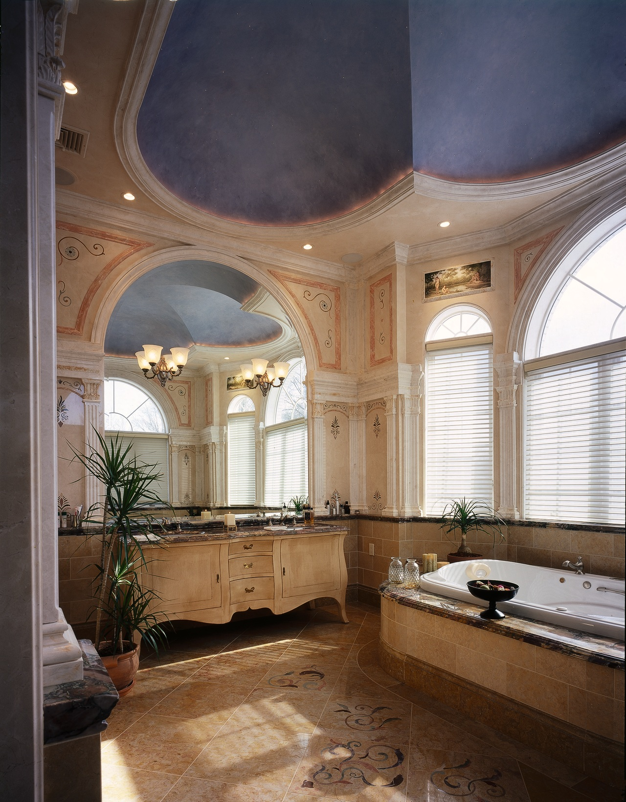 Broad view of this luxury bathroom bathroom, ceiling, daylighting, estate, home, interior design, room, window, brown