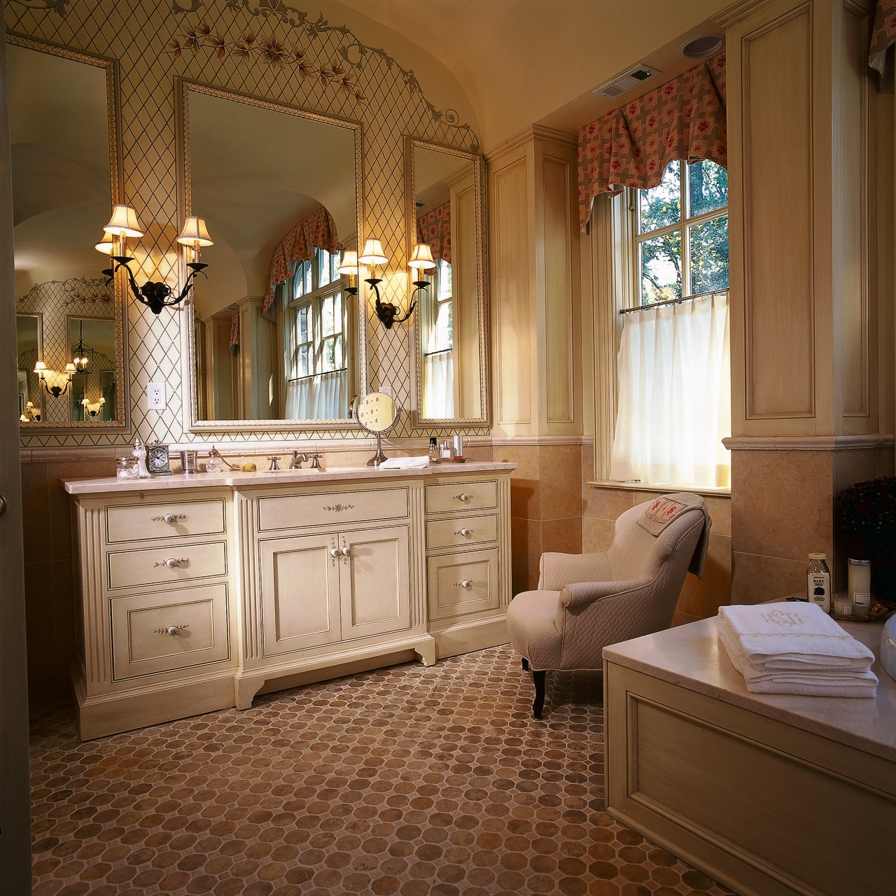 One end of this large bathroom bathroom, cabinetry, ceiling, estate, floor, flooring, home, interior design, room, wall, window, brown