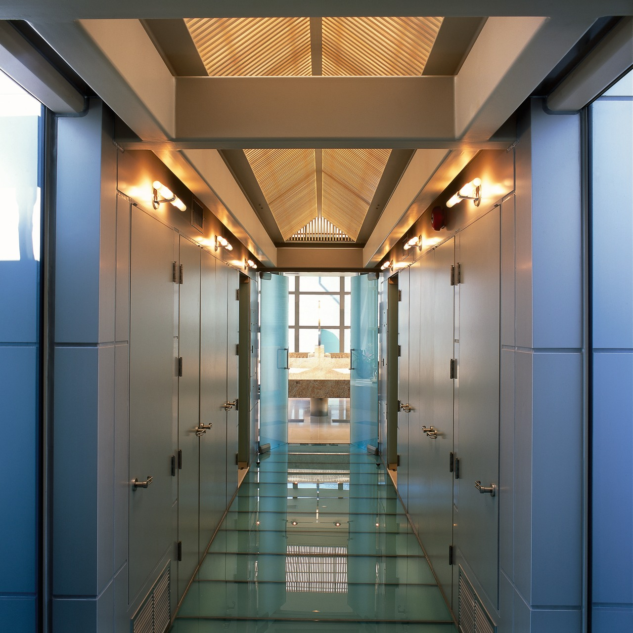A glass-floored corridor leading to the master bathroom ceiling, daylighting, interior design