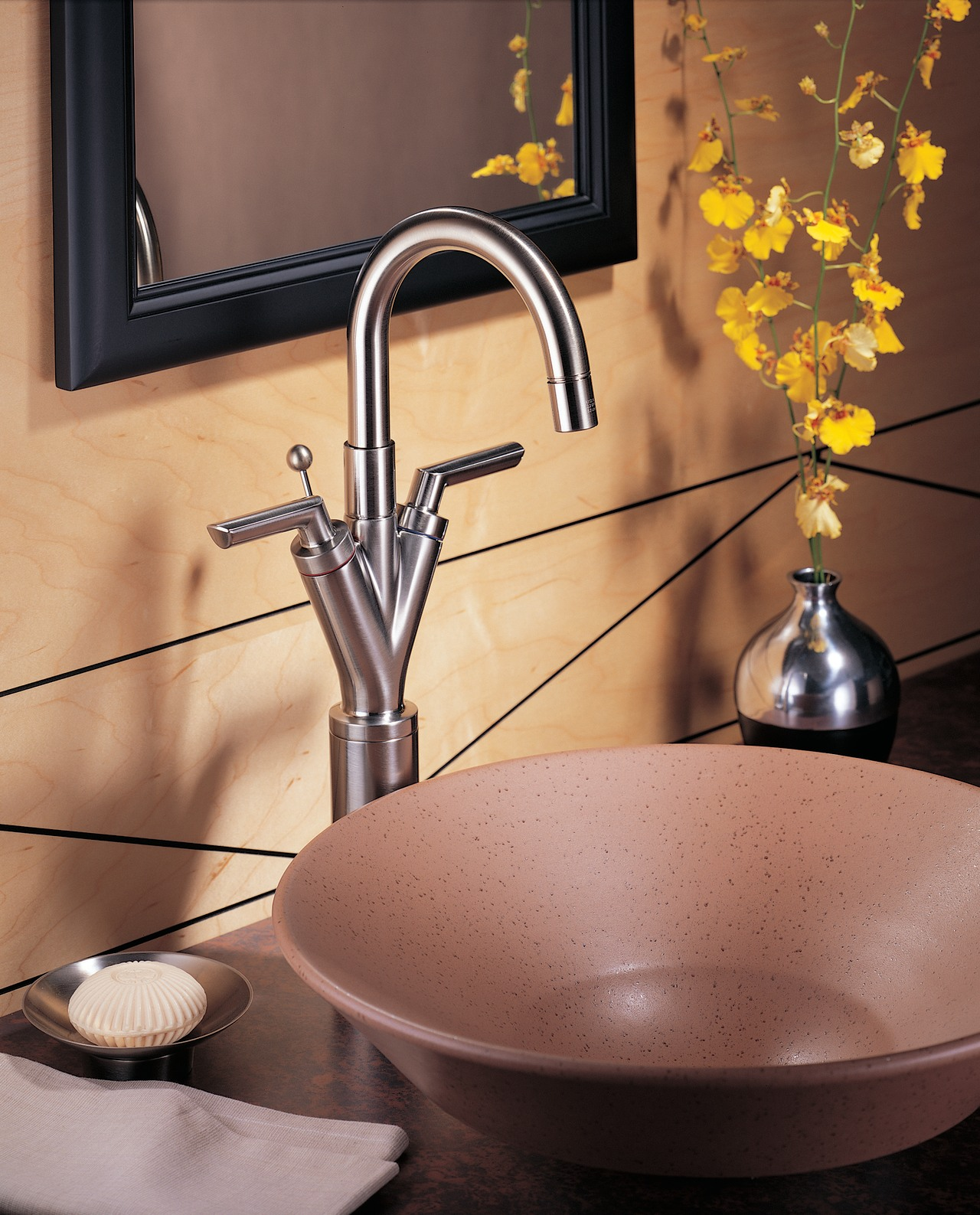 A V-shape faucet ceramic, cookware and bakeware, countertop, plumbing fixture, product design, sink, tap, red