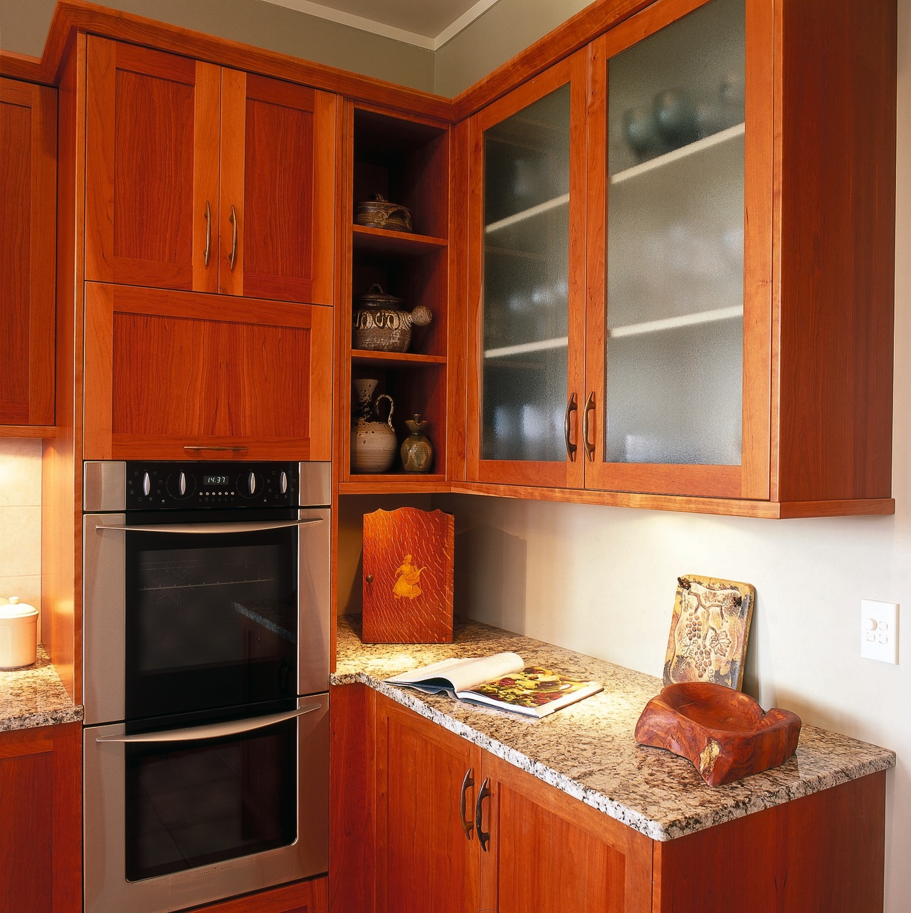 close up of kitchen corner cabinetry, countertop, cuisine classique, furniture, interior design, kitchen, room, under cabinet lighting, wood stain, red