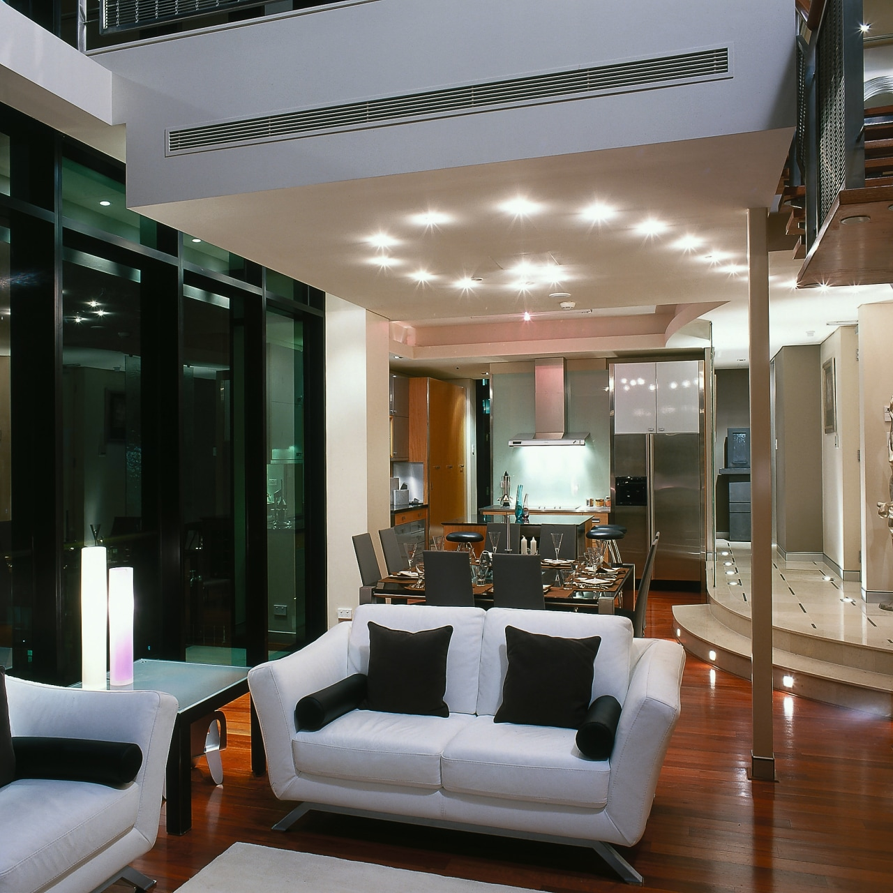View of the dining, lounge & kitchen areas ceiling, interior design, living room, real estate, room, window, gray, black