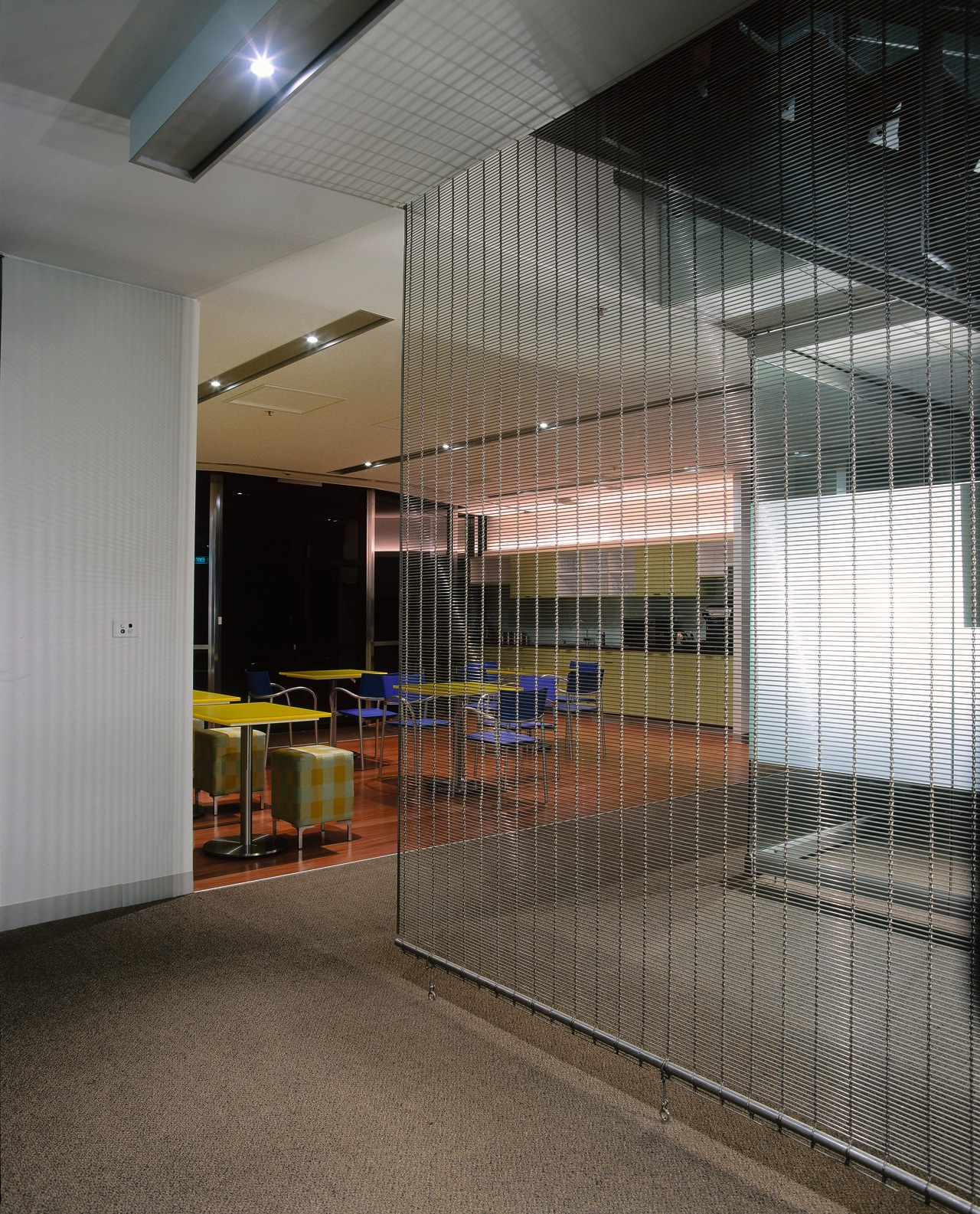 View of a glass panel, polished concrete flooring, architecture, ceiling, daylighting, glass, interior design, gray, black