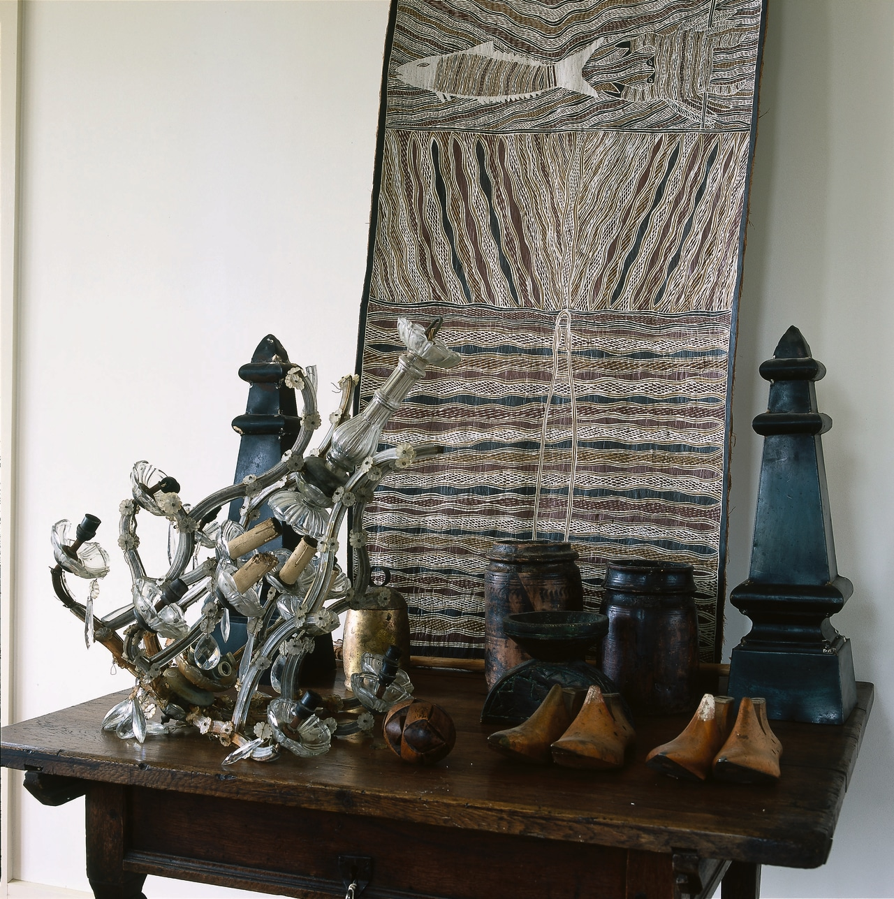 The detail of ornaments on a side table sculpture, white, black