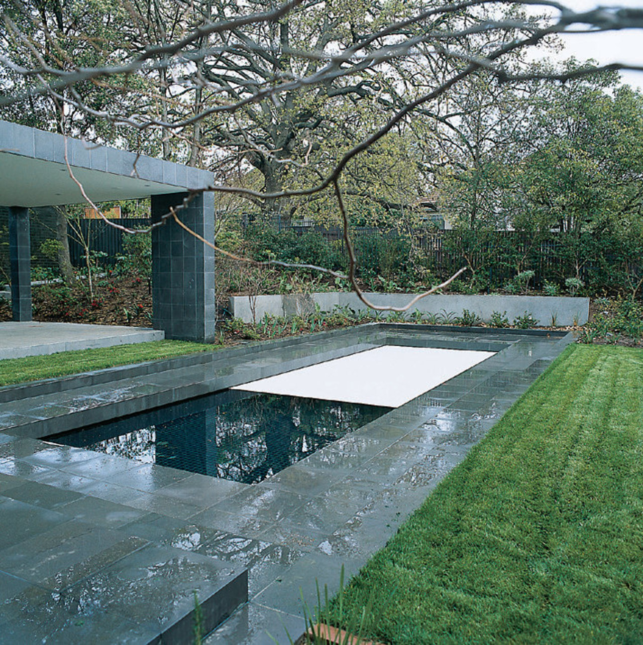 View of the pool's protection cover architecture, house, reflecting pool, reflection, swimming pool, water, water resources, gray