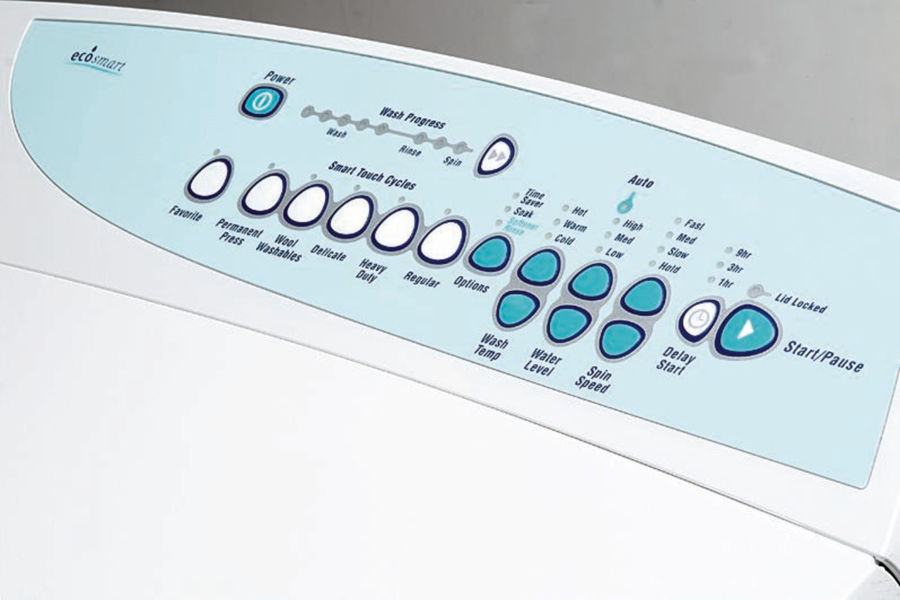 Close up of washing machine control panel font, product, product design, technology, white