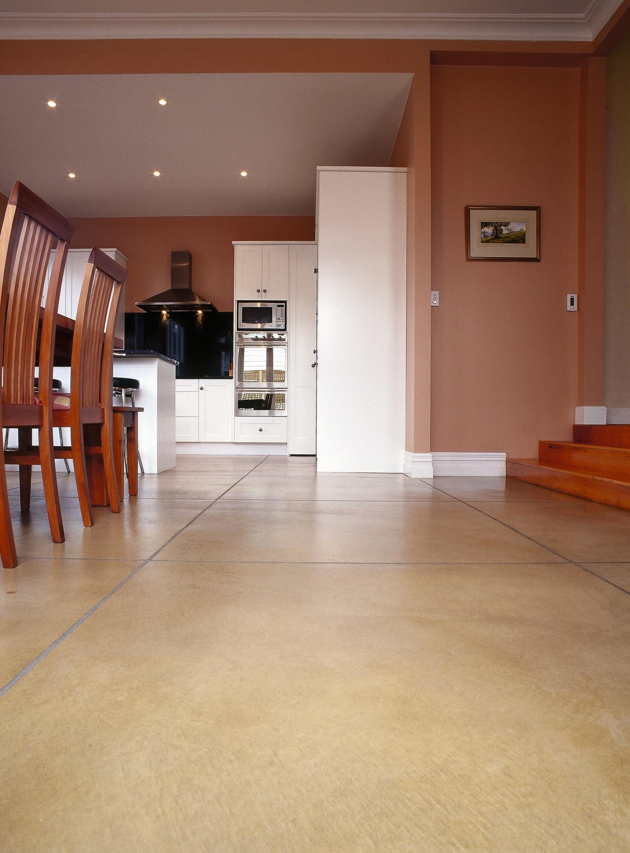 Sandstone coloured polished concrete floor laid to resemble ceiling, floor, flooring, hardwood, home, interior design, laminate flooring, lobby, real estate, tile, wood, wood flooring, brown, orange
