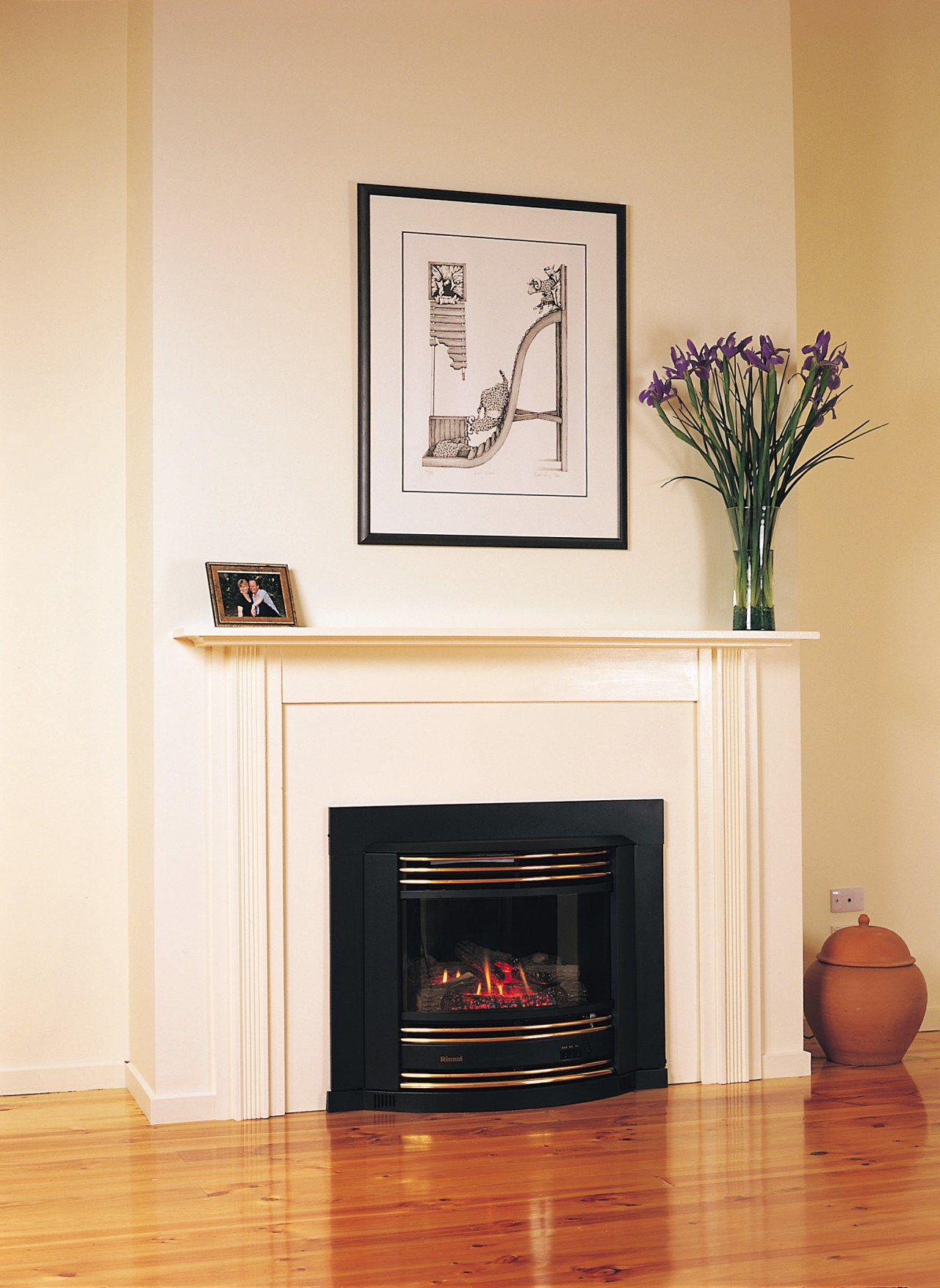 Gas fireplace in black finish with surround extended fireplace, furniture, hearth, home, interior design, living room, white, orange