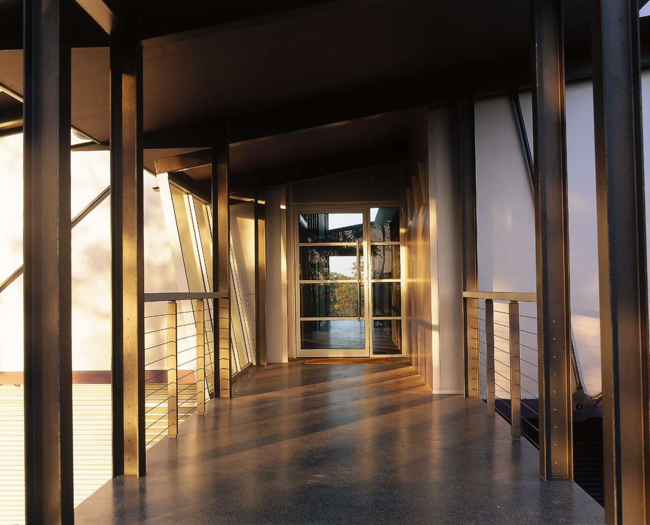 View of the passage way that connects the architecture, interior design, lobby, window, black
