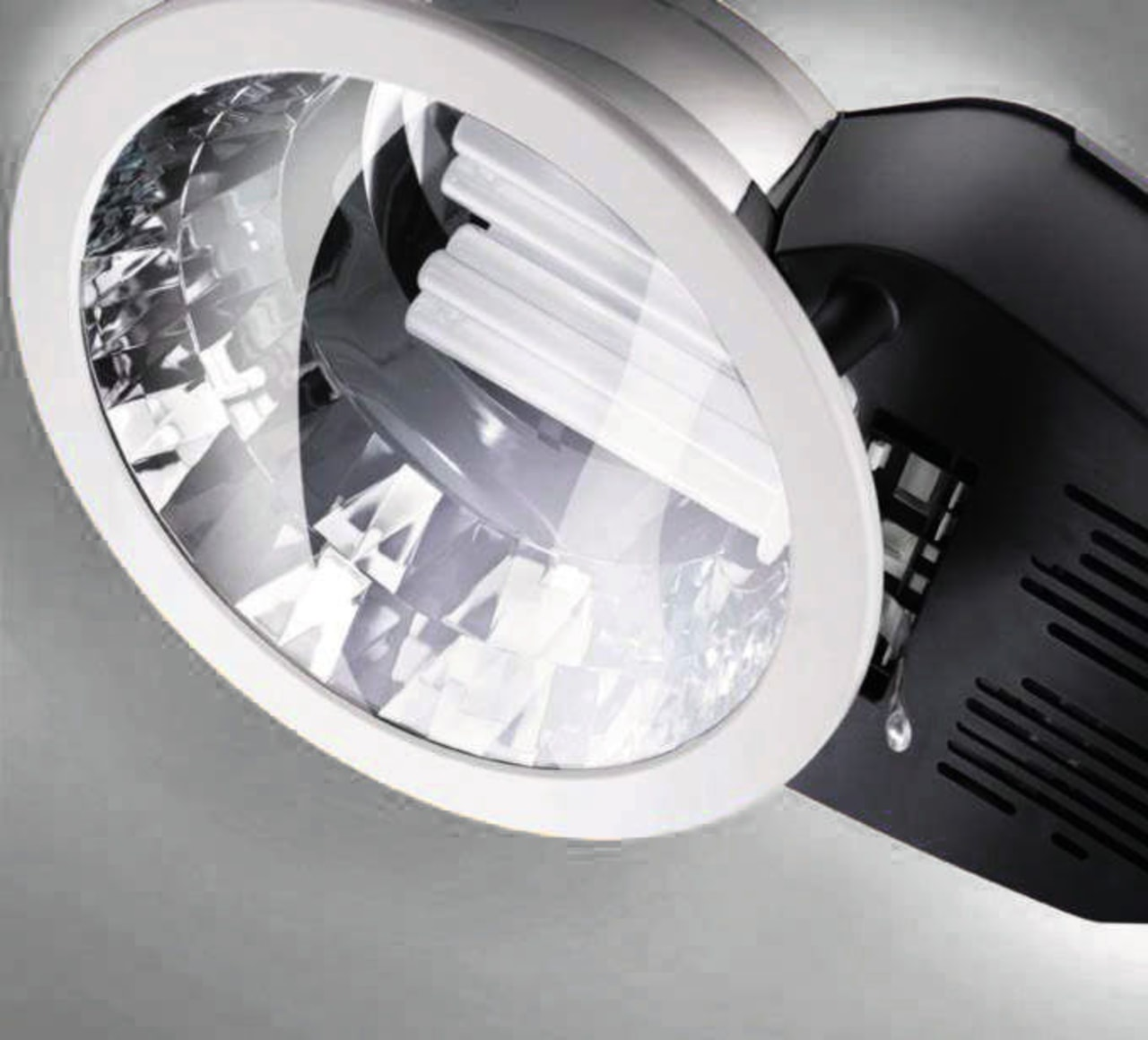 Close view of the Philips Europa2 downlight automotive lighting, lighting, product design, white, gray