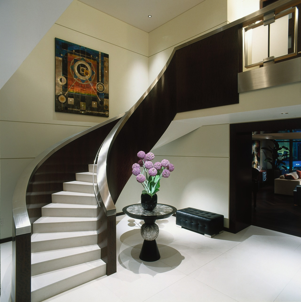 View of the stairway ceiling, floor, home, interior design, room, stairs, black, gray