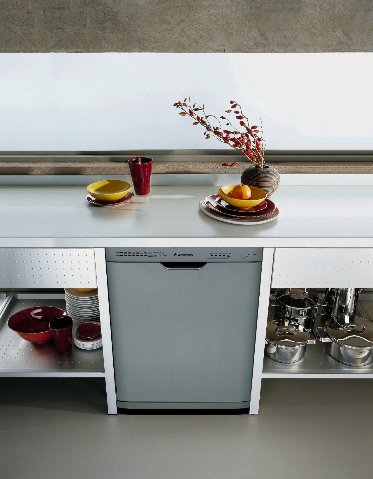 View of the dishwasher furniture, product design, shelf, table, gray, white