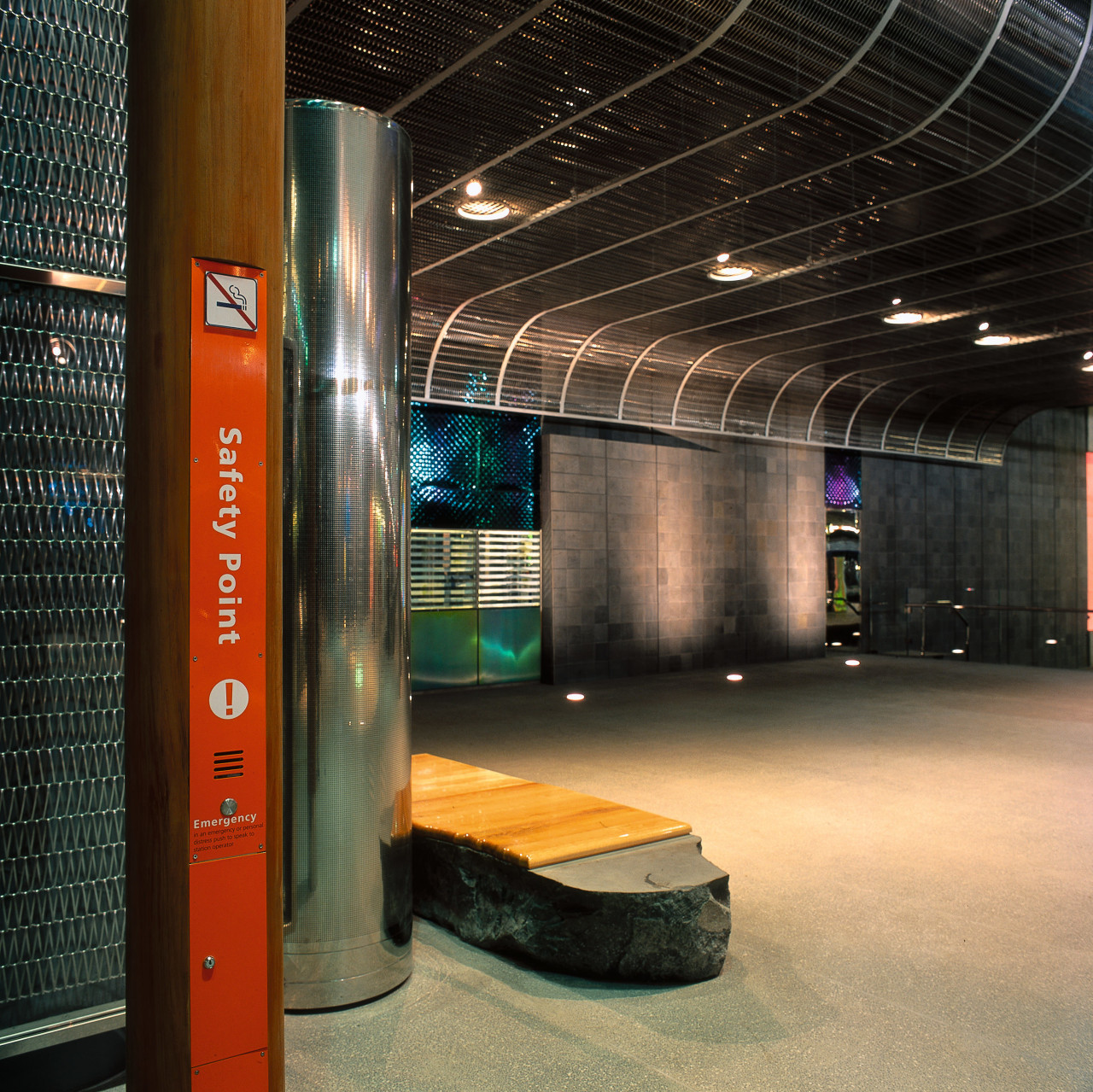 Auckland's Britomart Transport Centre. The timber for thei ceiling, interior design, structure, black