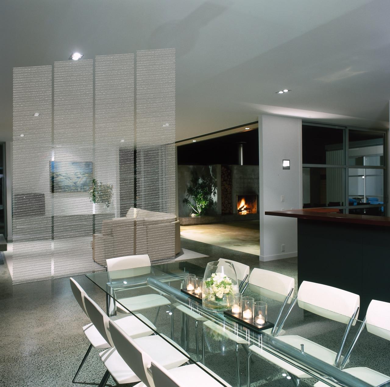 A dining area featuring designer mesh. The area architecture, condominium, glass, interior design, real estate, window, gray