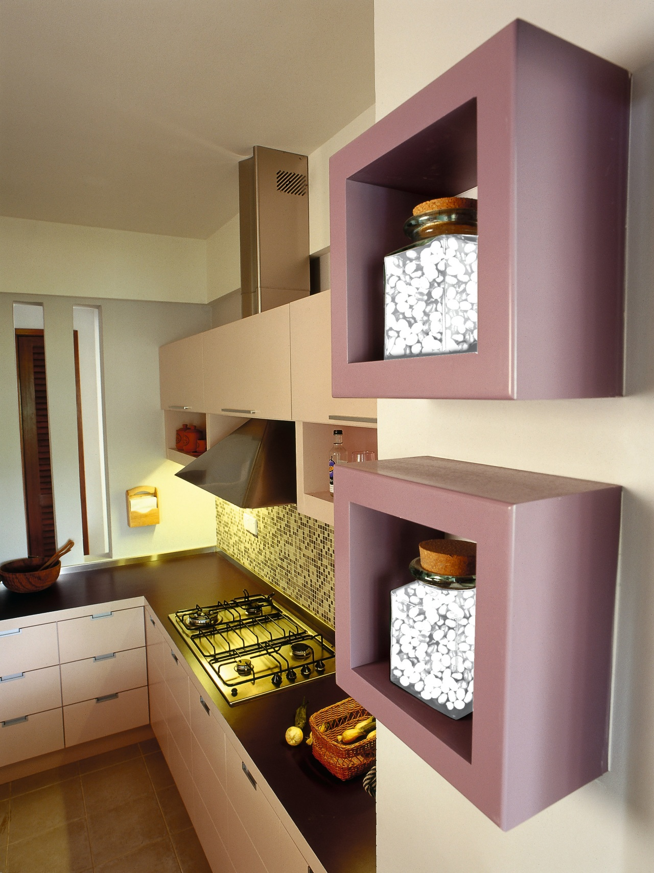 View of this contemporary kitchen cabinetry, countertop, furniture, interior design, kitchen, room, shelf, shelving, brown, gray