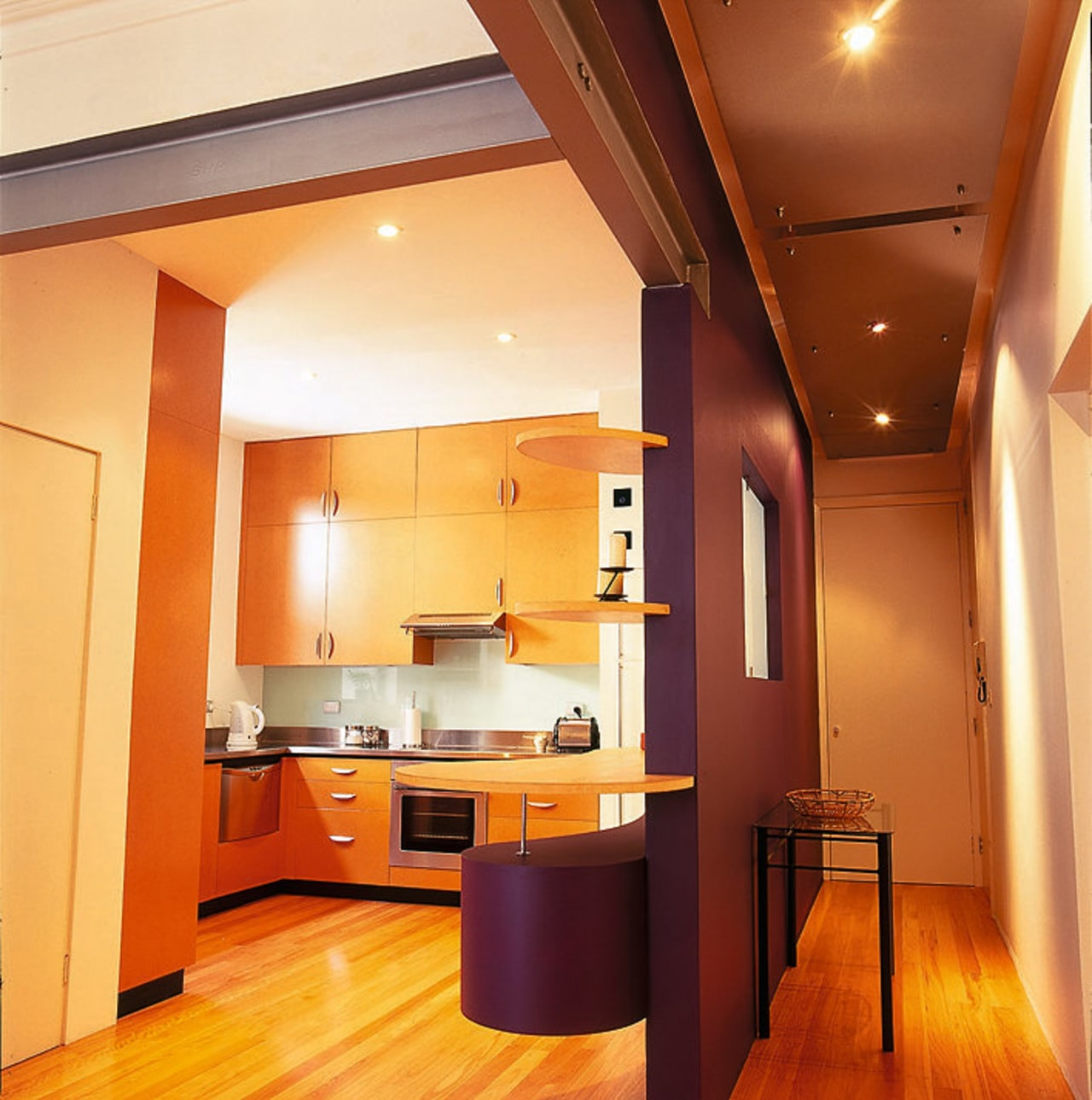 View of the hall & kitchen architecture, cabinetry, ceiling, countertop, floor, flooring, hardwood, interior design, kitchen, lighting, real estate, room, wood flooring, orange, red
