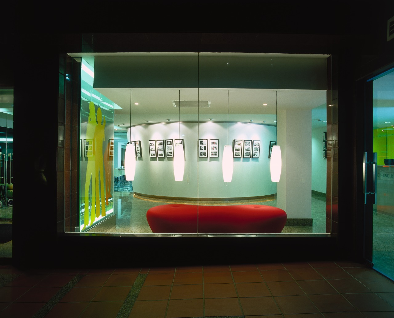View of the lobby display device, display window, glass, technology, tourist attraction, black