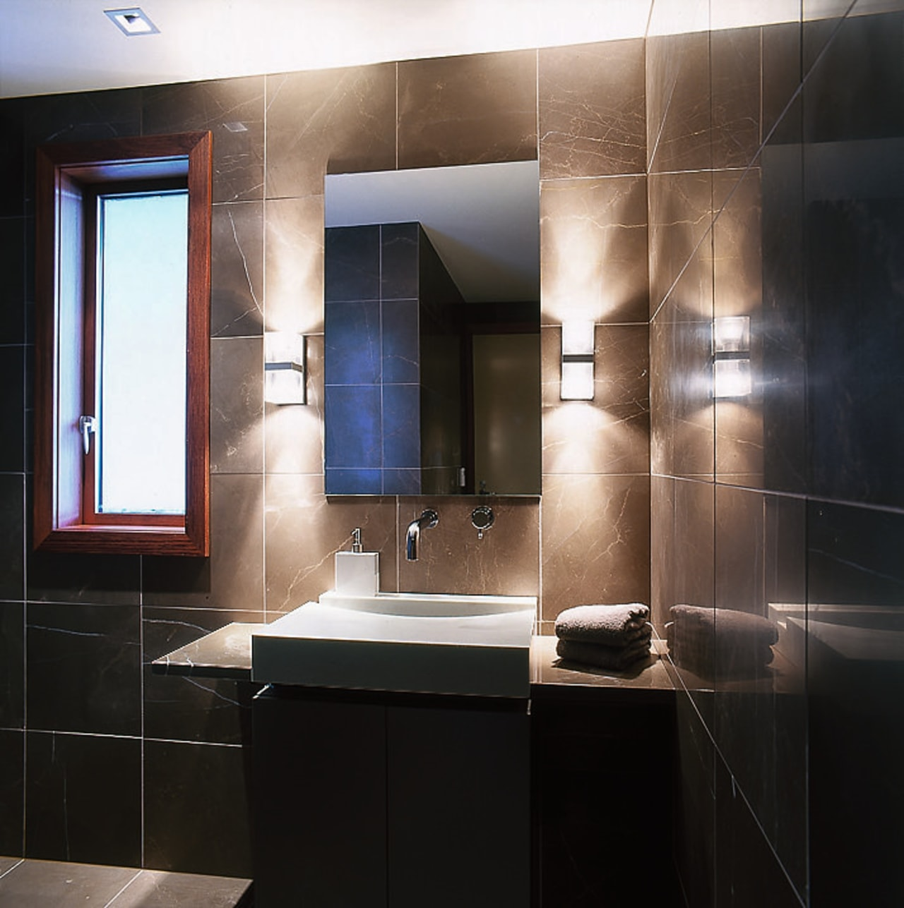 View of the vanity unit in the bathroom bathroom, bathroom accessory, cabinetry, countertop, interior design, room, sink, black