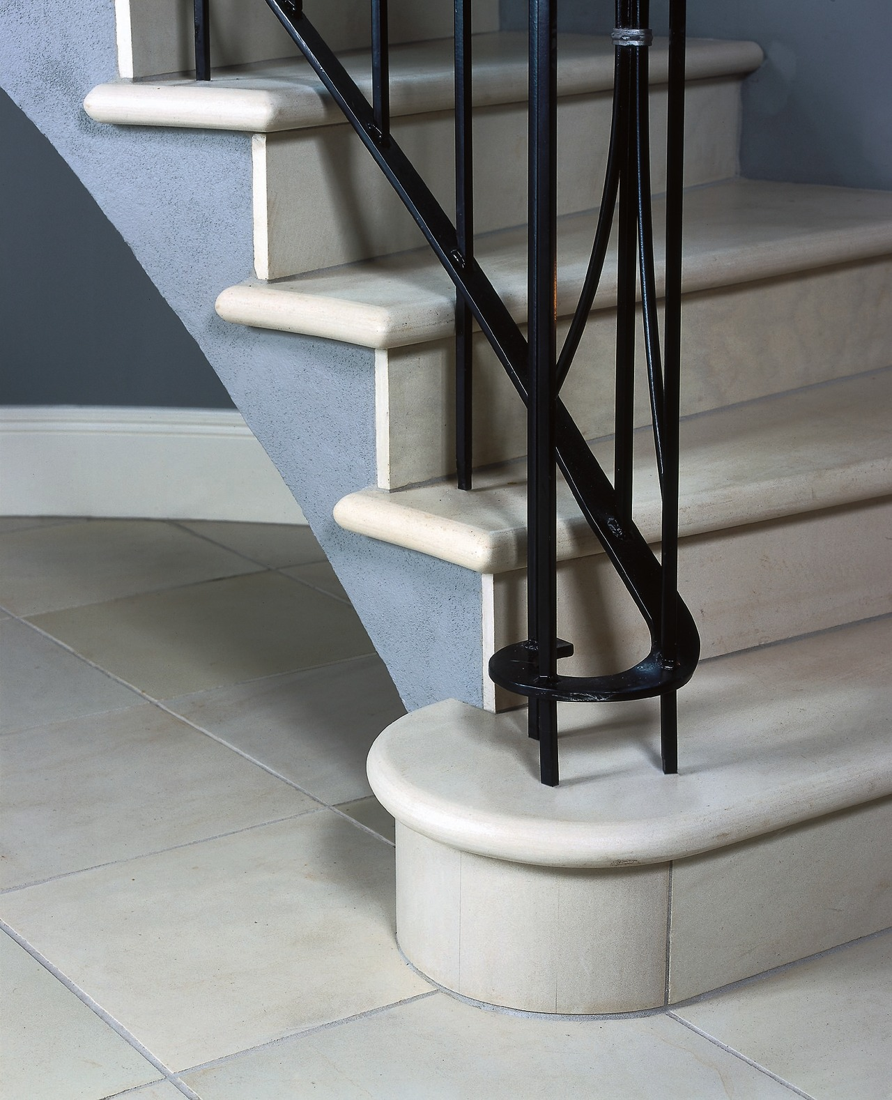 stairway with tiled surface floor, handrail, product design, stairs, structure, gray