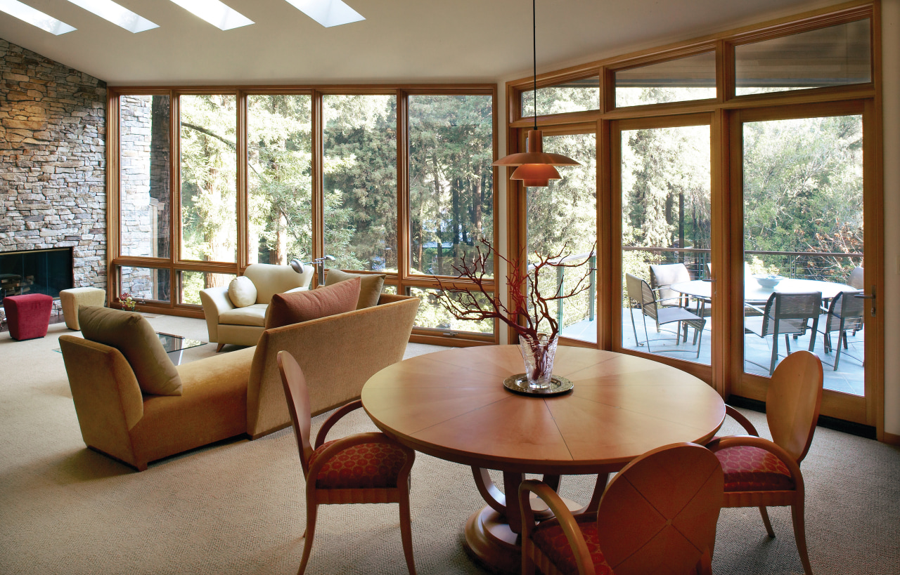 View of the dining area home, house, interior design, living room, real estate, room, table, window, wood, brown, gray