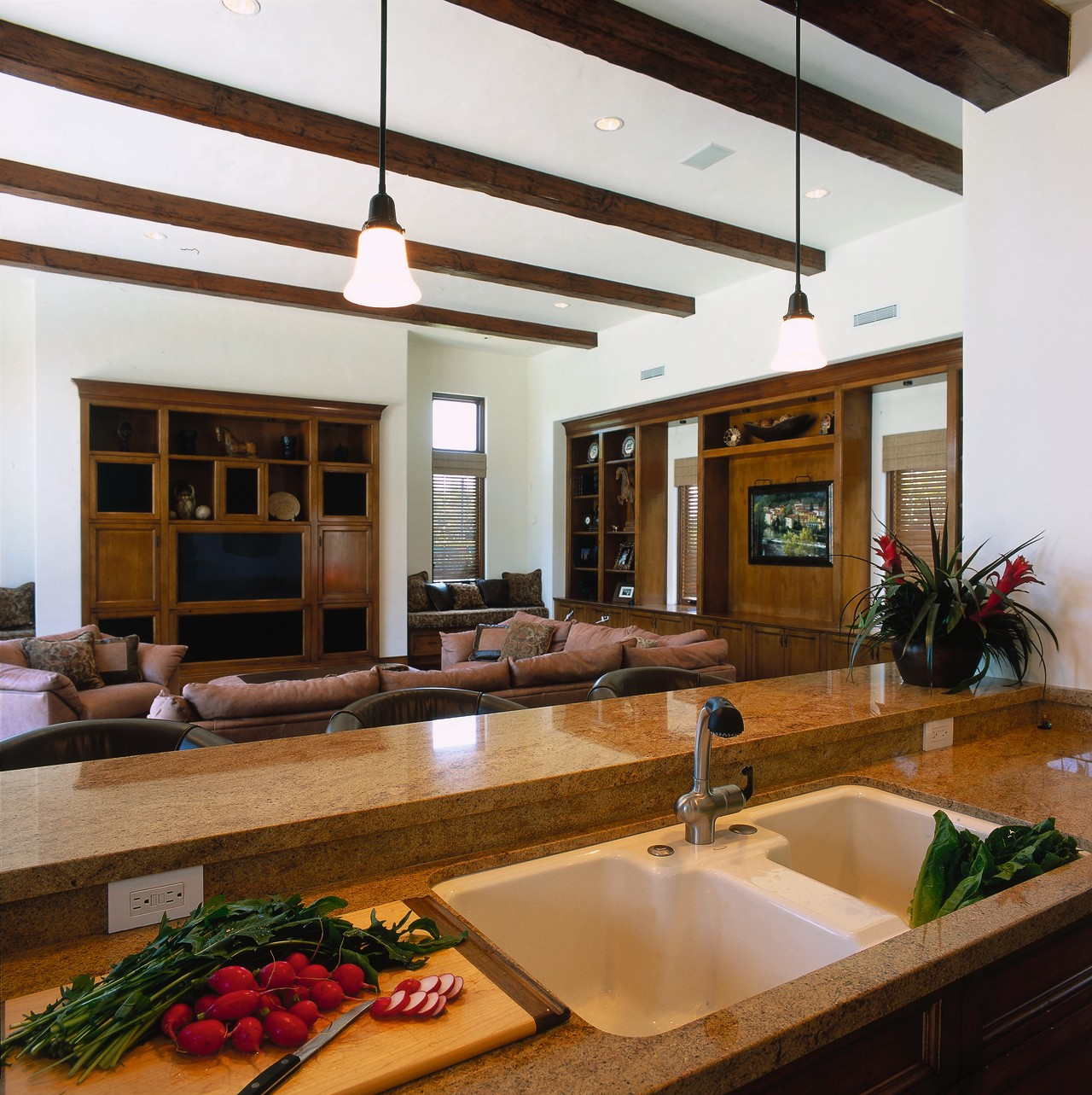 The living area, viewed from the kitchen countertop, interior design, living room, real estate, white, brown