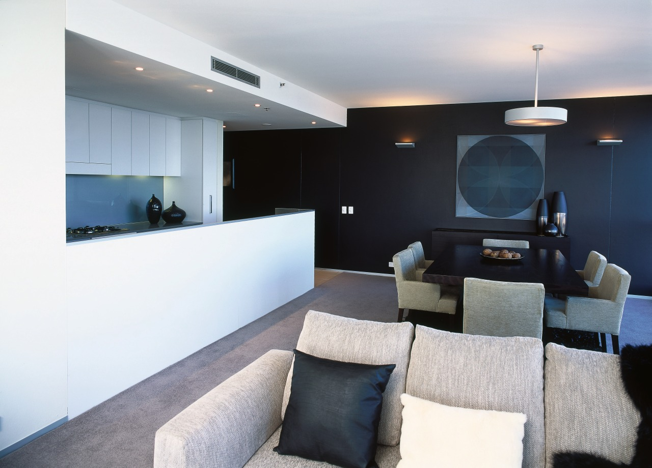 Open plan kitchen, dining and lounge area with architecture, ceiling, house, interior design, living room, property, real estate, room, white, black