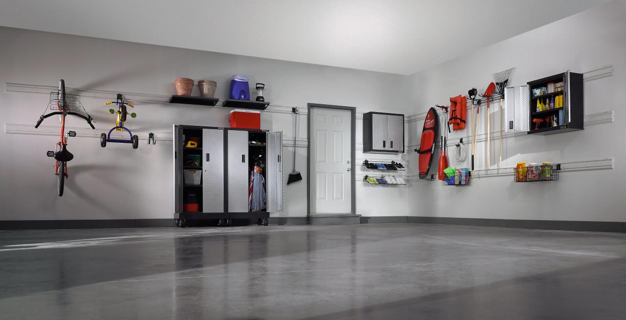 Inner view of the showroom exhibition, floor, gray