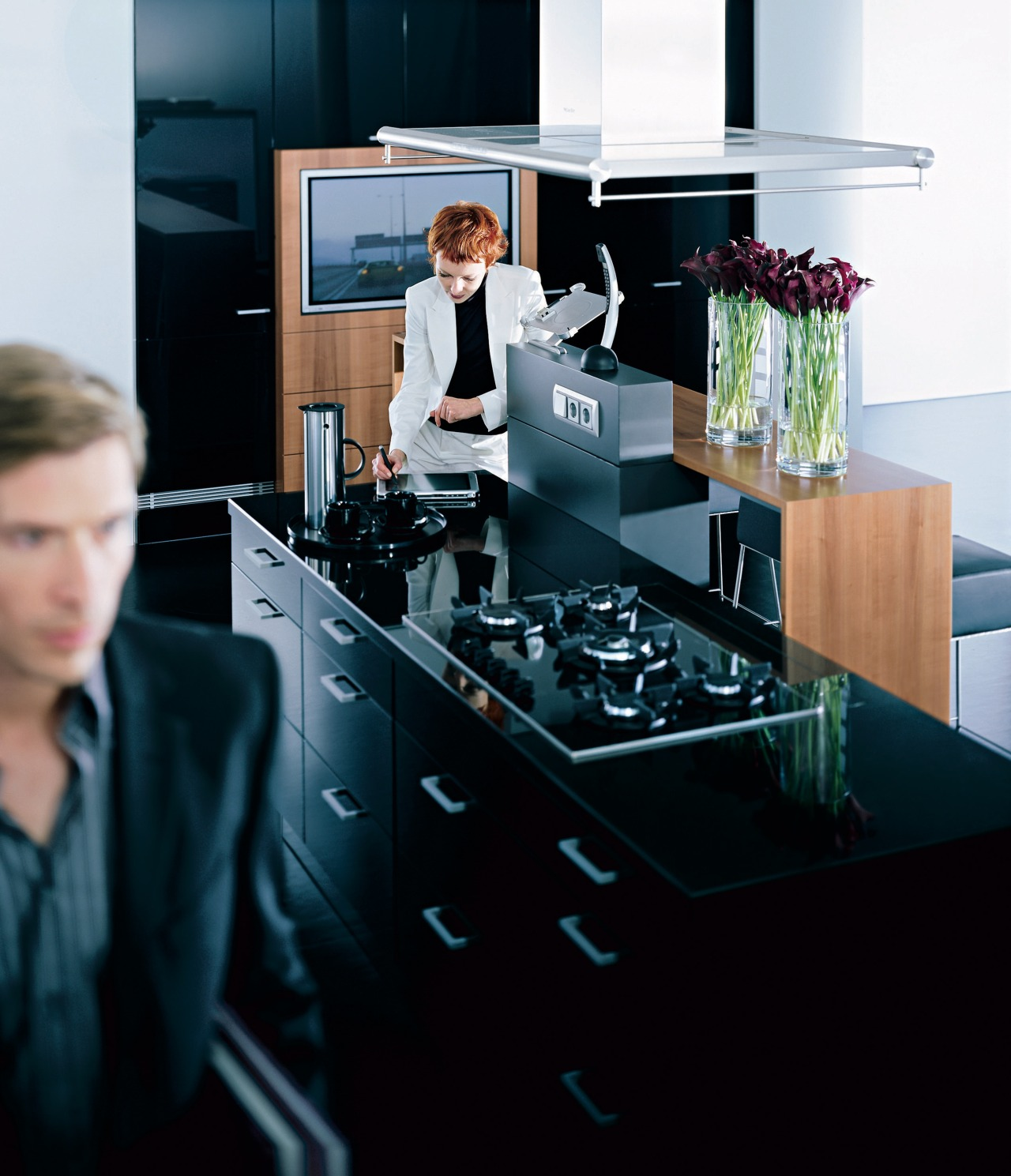 Close view of the cabinetry furniture, interior design, kitchen, product design, table, black