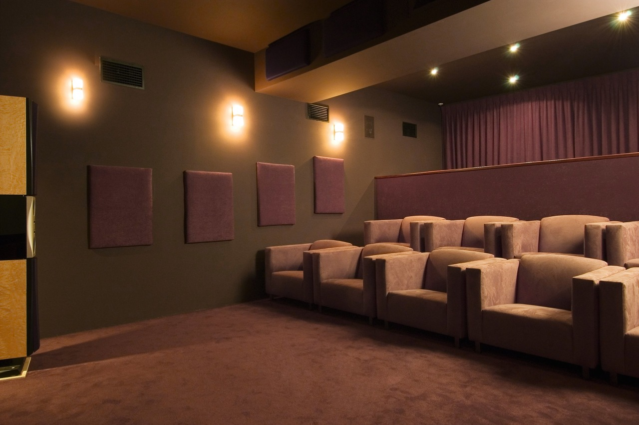 Interior view of home theatre room with large auditorium, ceiling, floor, flooring, function hall, interior design, lighting, room, theatre, wall, brown