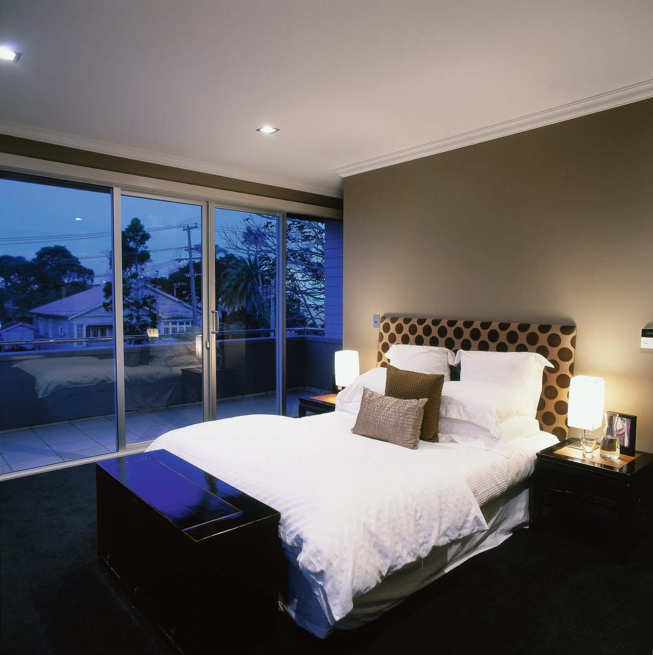 View of the bedroom architecture, bed frame, bedroom, ceiling, home, interior design, lighting, mattress, property, real estate, room, suite, wall, gray, black