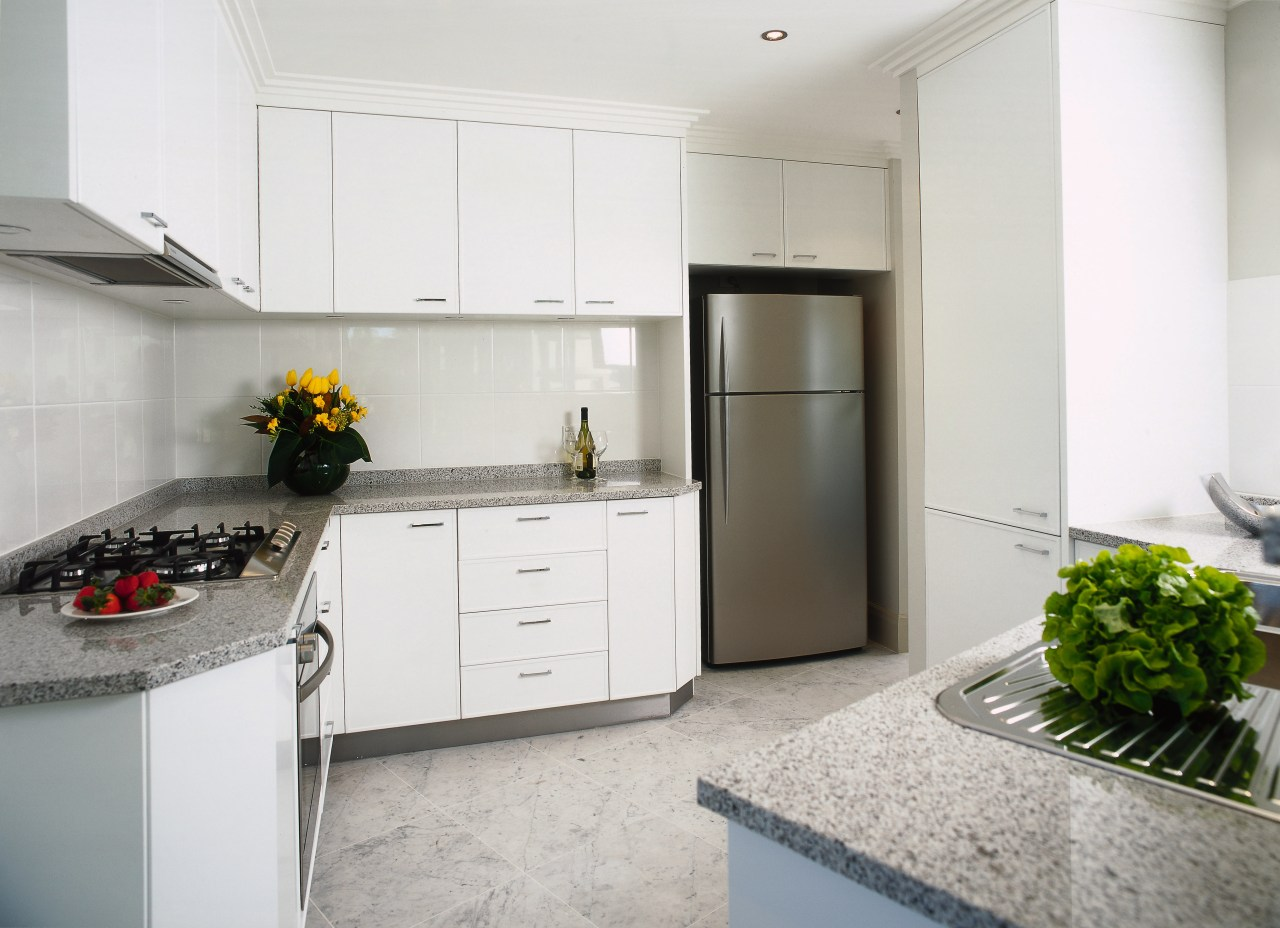 interior view of the kitchen countertop, cuisine classique, interior design, kitchen, property, real estate, room, white