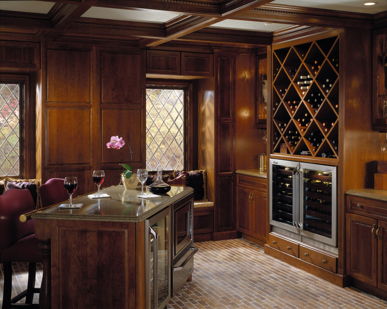 Interior view of dining area cabinetry, countertop, cuisine classique, interior design, kitchen, room, window, wood, red, brown