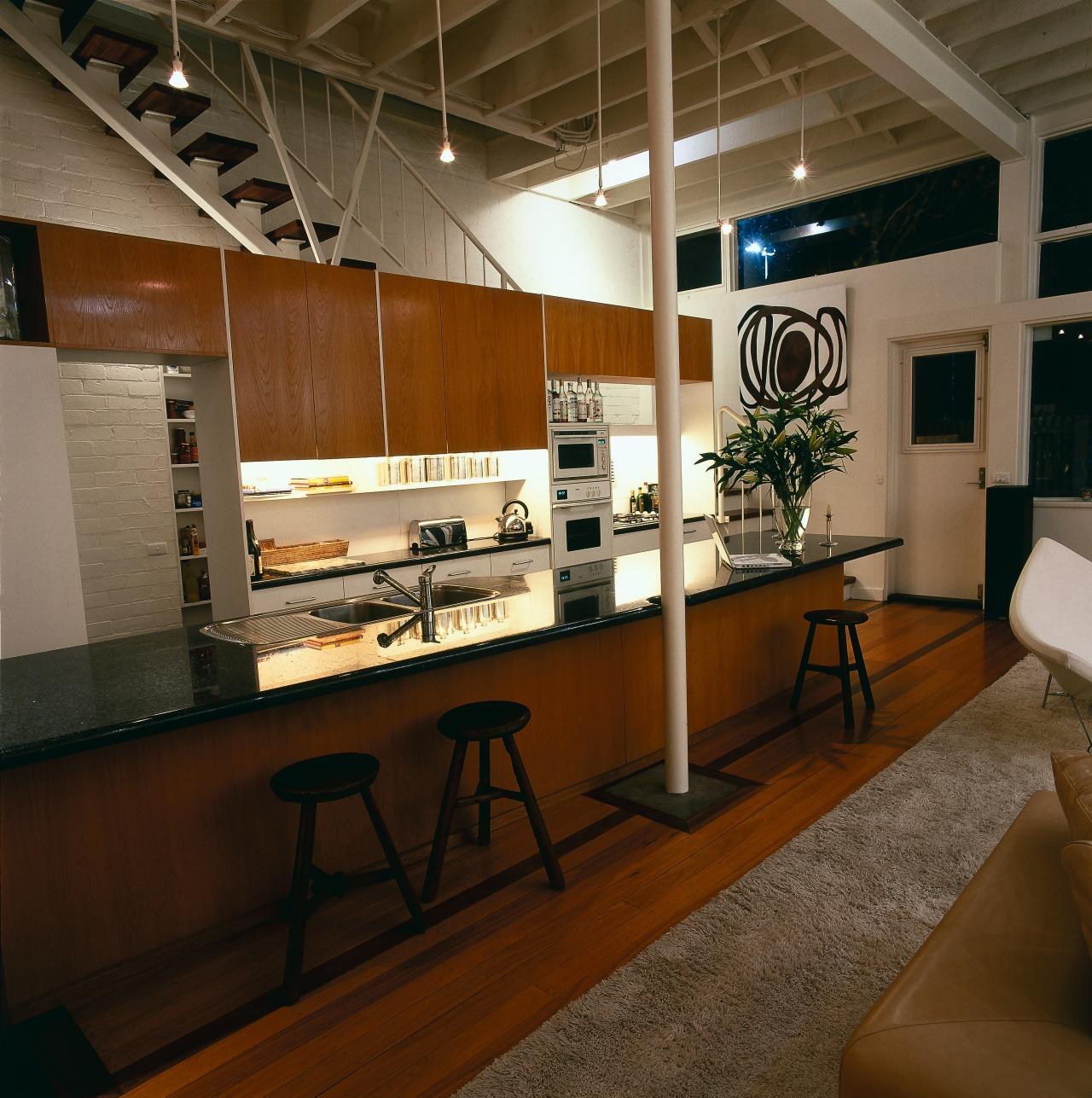 View of the kitchen area furniture, interior design, brown