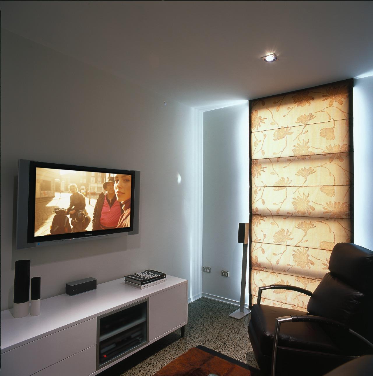 Interior view of living area, flat screen plasma ceiling, home, interior design, living room, multimedia, room, wall, gray, black