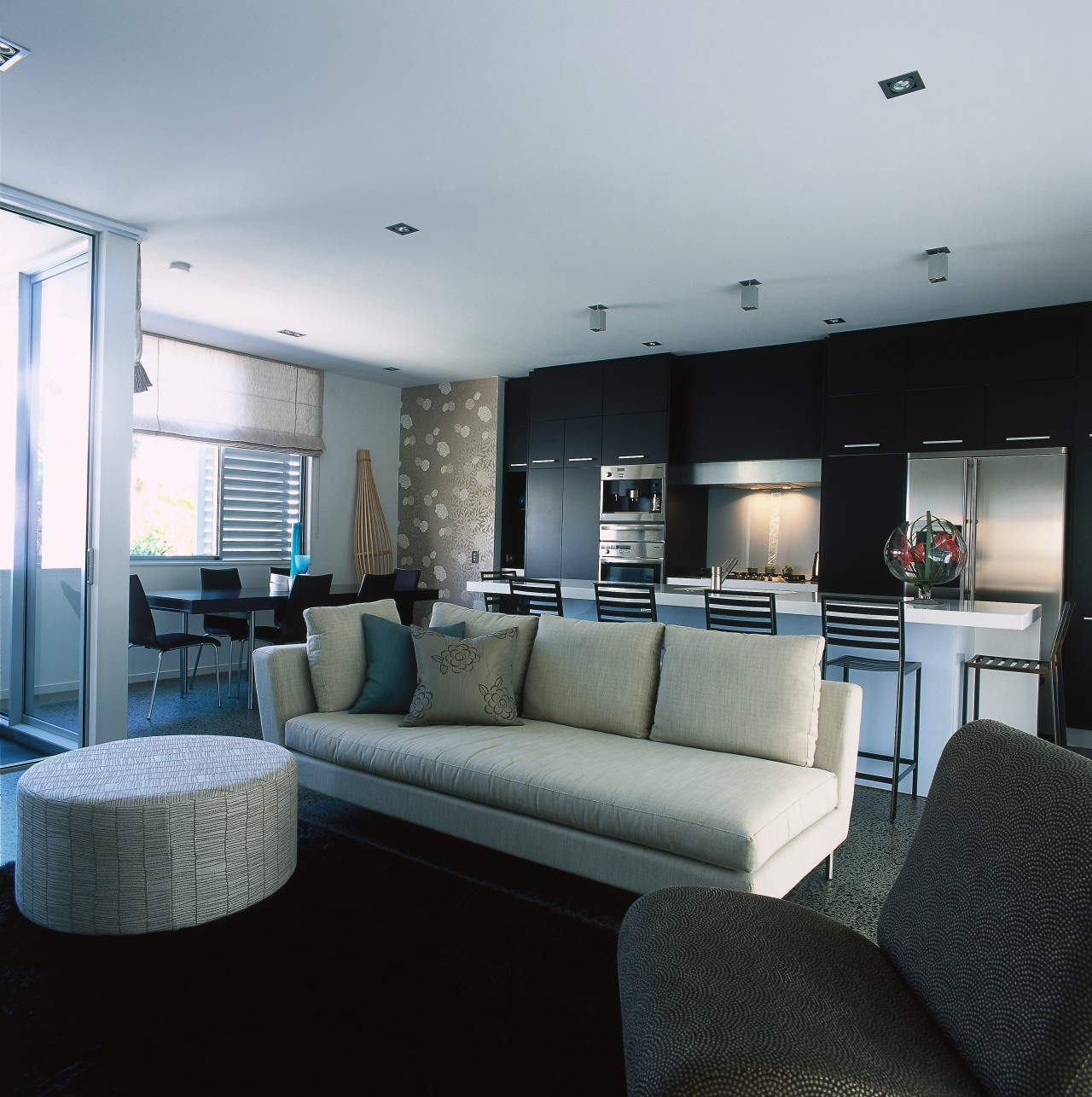 View of the living area apartment, architecture, interior design, living room, property, real estate, room, gray, black