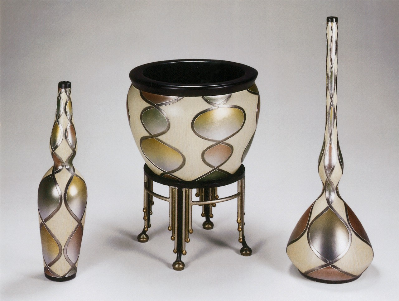 Objects on foreground brass, metal, product design, tableware, gray