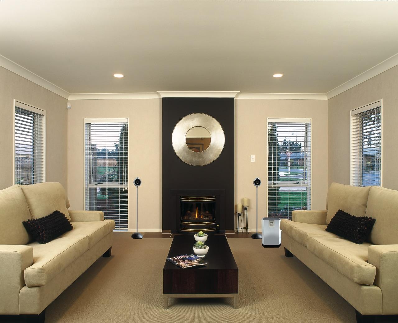 Interior view of living area ceiling, home, interior design, living room, real estate, room, window, orange
