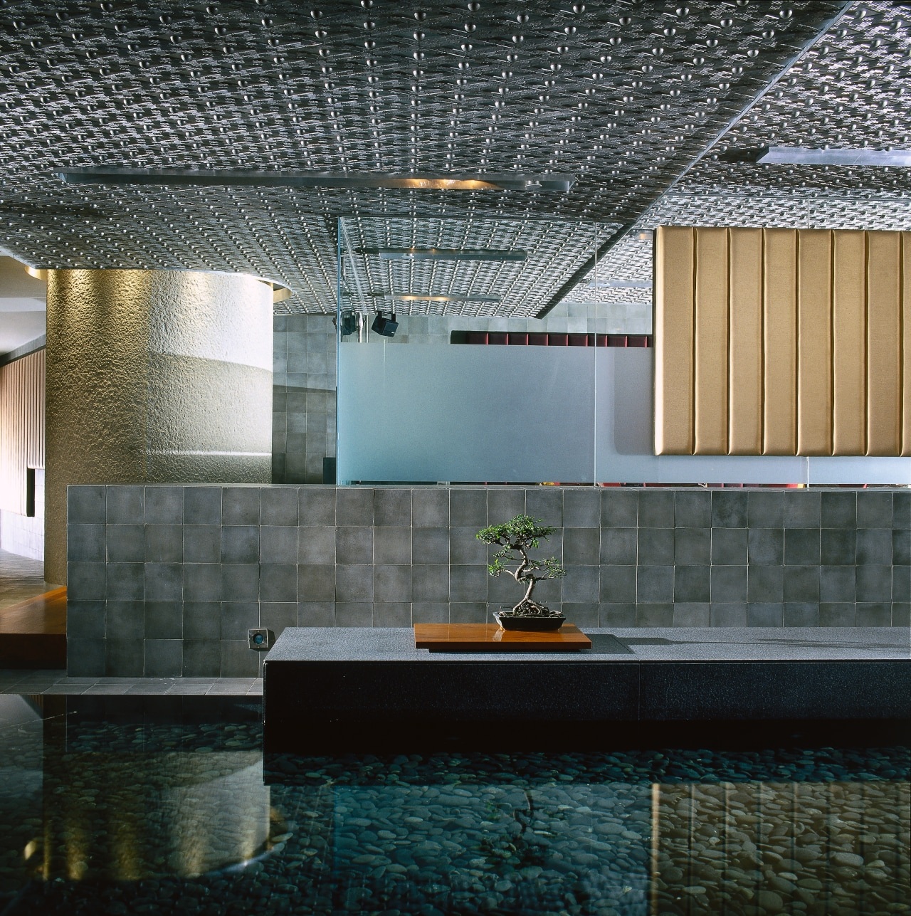 Indoor pond with stones and grey walls, and architecture, ceiling, daylighting, interior design, lobby, black, gray