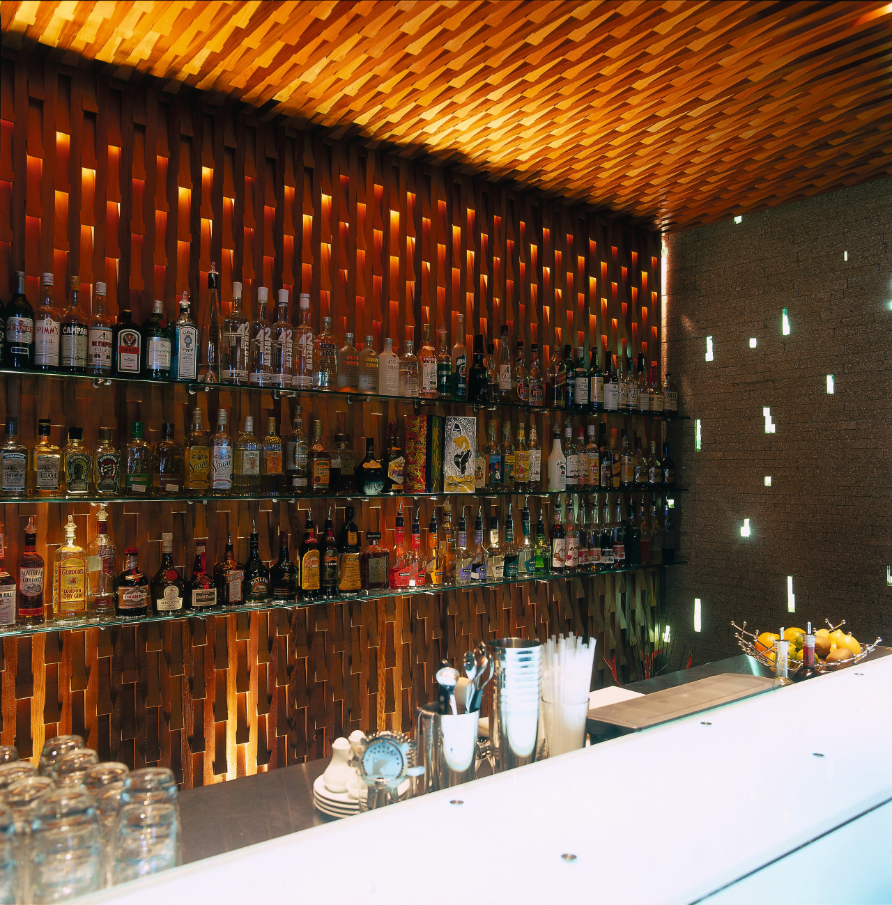 Polished glass restaurant bar with screens of timber bar, liquor store, restaurant, brown