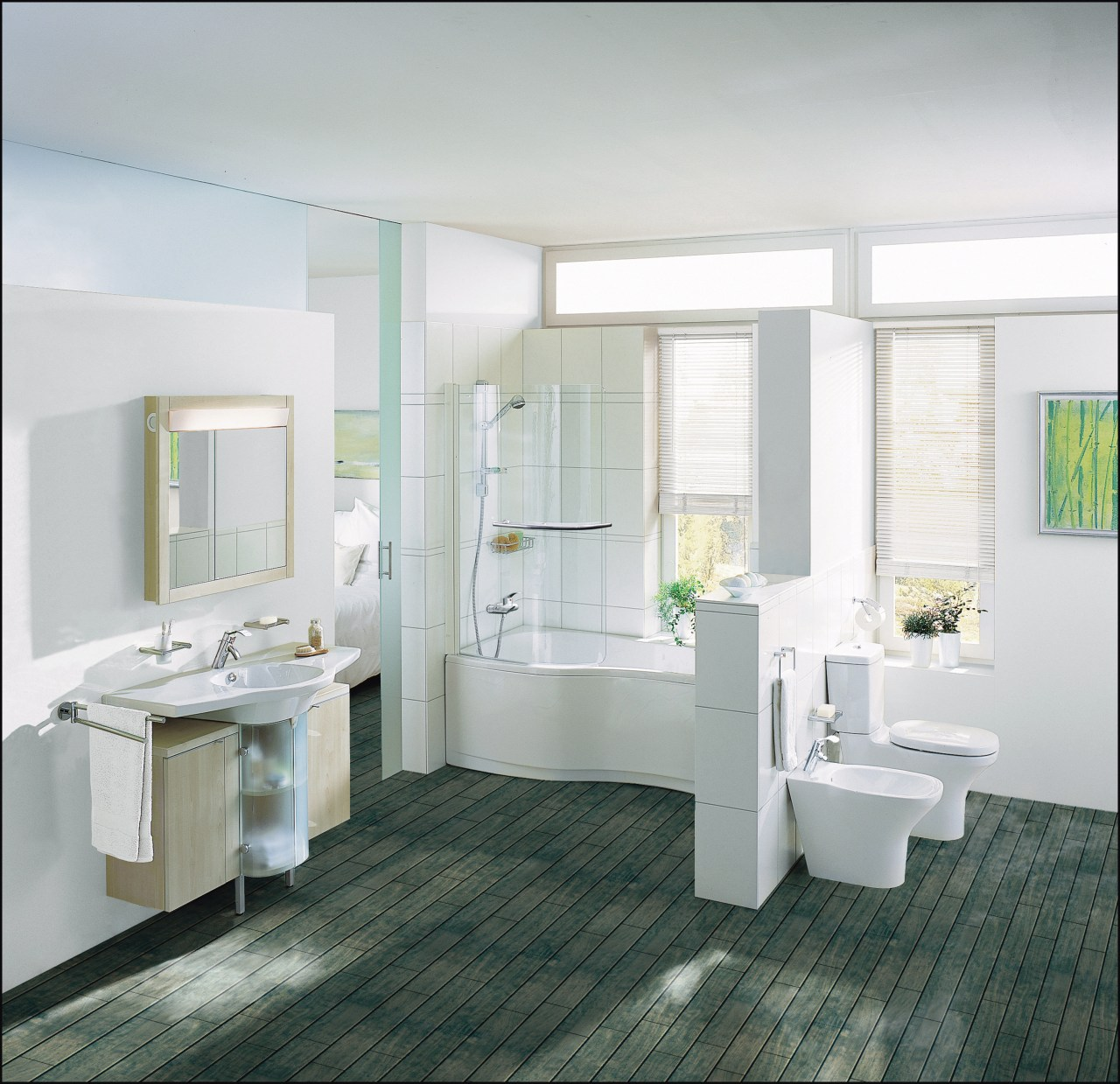 Examples of a freelance bathroom suite with a bathroom, bathroom accessory, bathroom cabinet, floor, flooring, interior design, plumbing fixture, room, sink, tile, gray, white