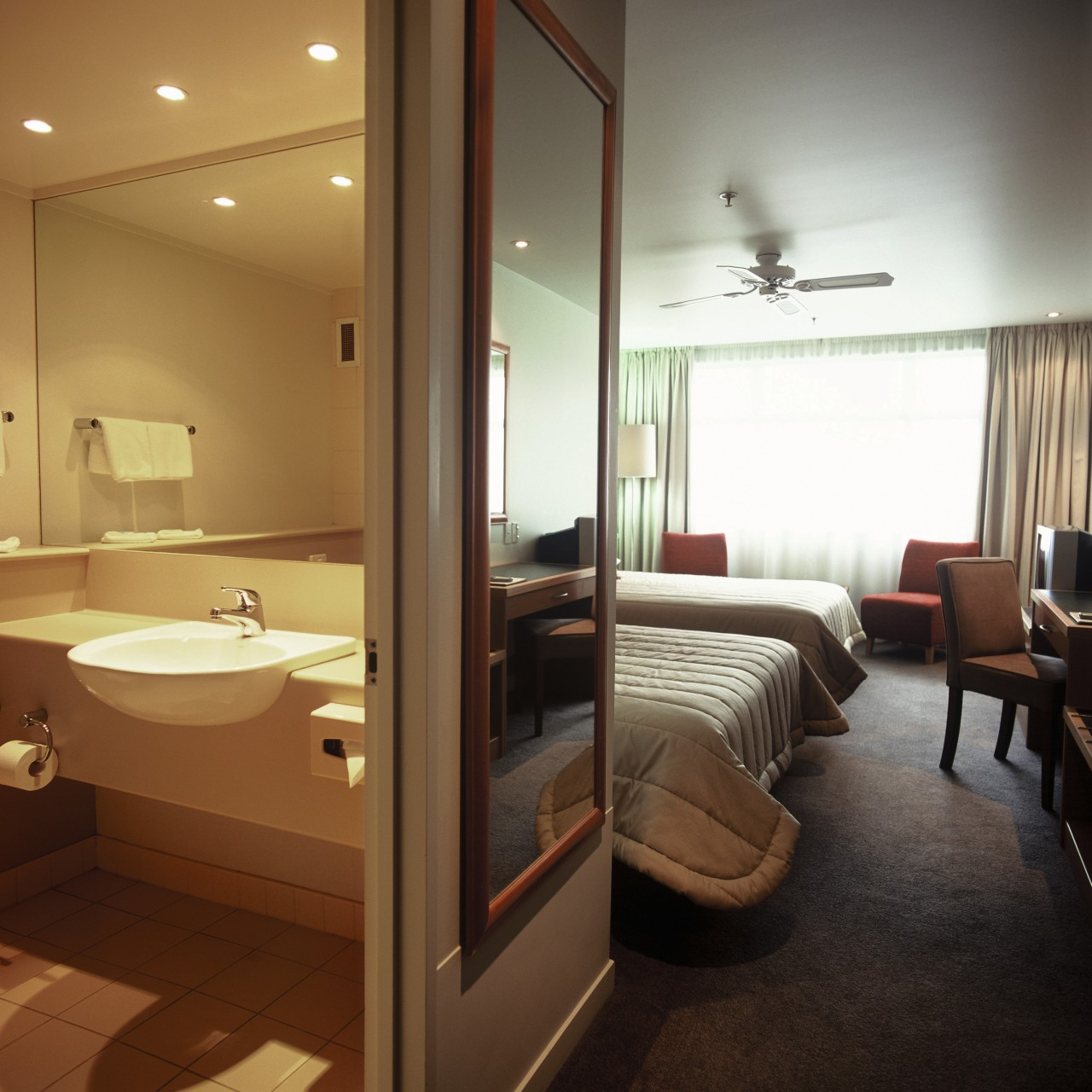 Bathroom and bedroom suite in natural colours, brown bathroom, ceiling, floor, flooring, interior design, room, suite, brown