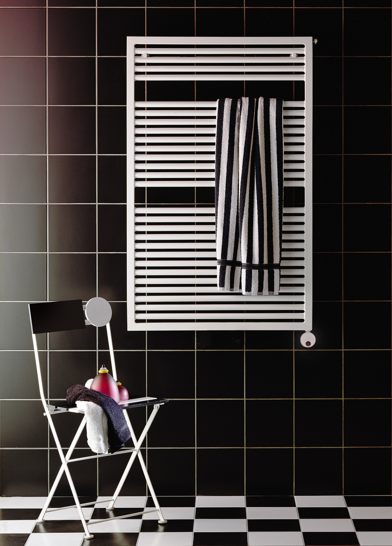 View of this bathroom accessory black, floor, flooring, furniture, interior design, line, product, shelf, shelving, tile, wall, window, black