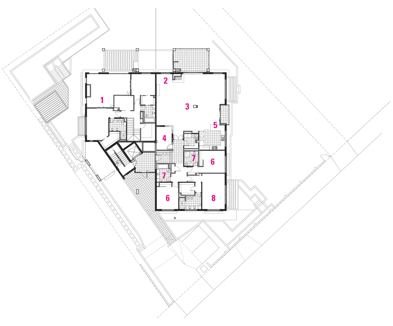 Plan of apartment layout. angle, architecture, area, design, diagram, drawing, floor plan, line, plan, product design, schematic, structure, white