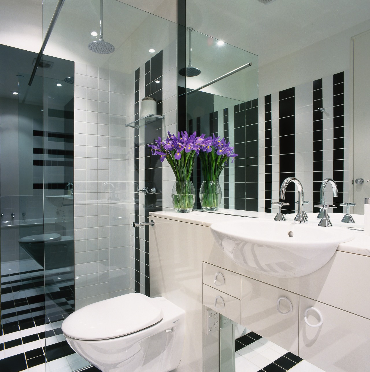 view of the bathroom showing both  smoky bathroom, home, interior design, purple, room, tap, gray, white