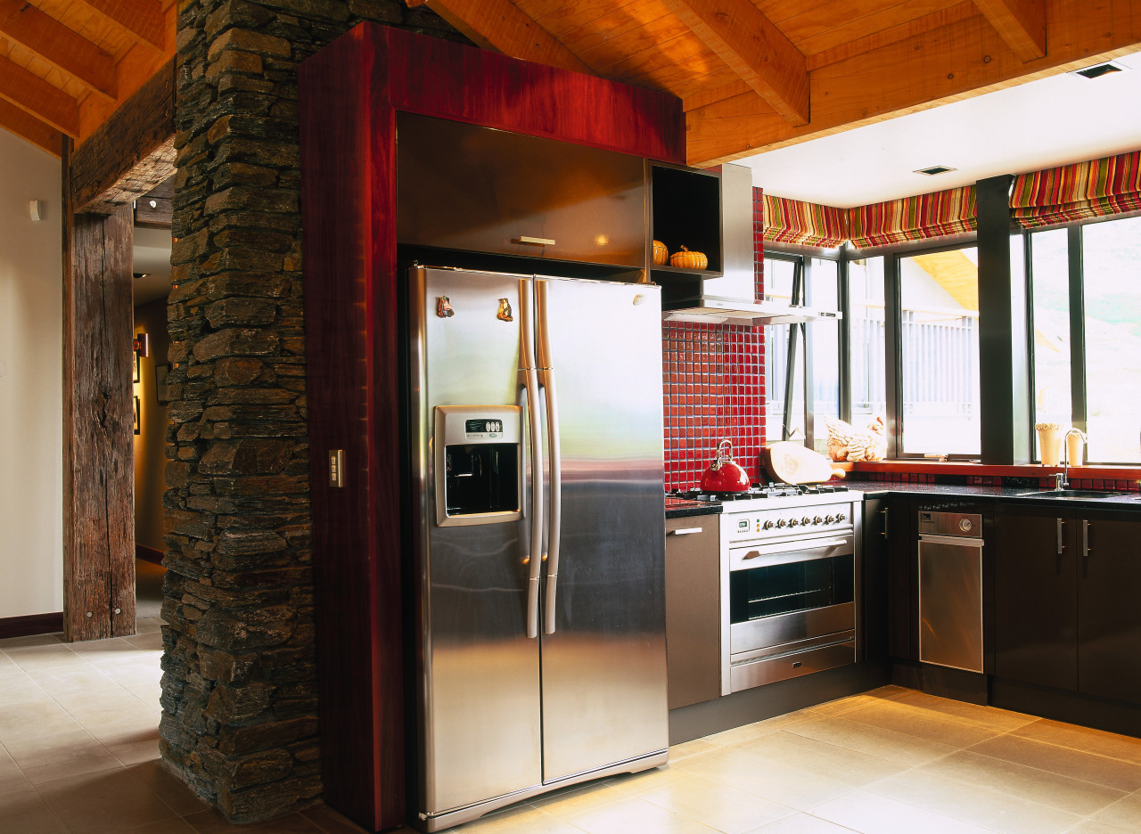 view of the food preparation area in the interior design, kitchen, black