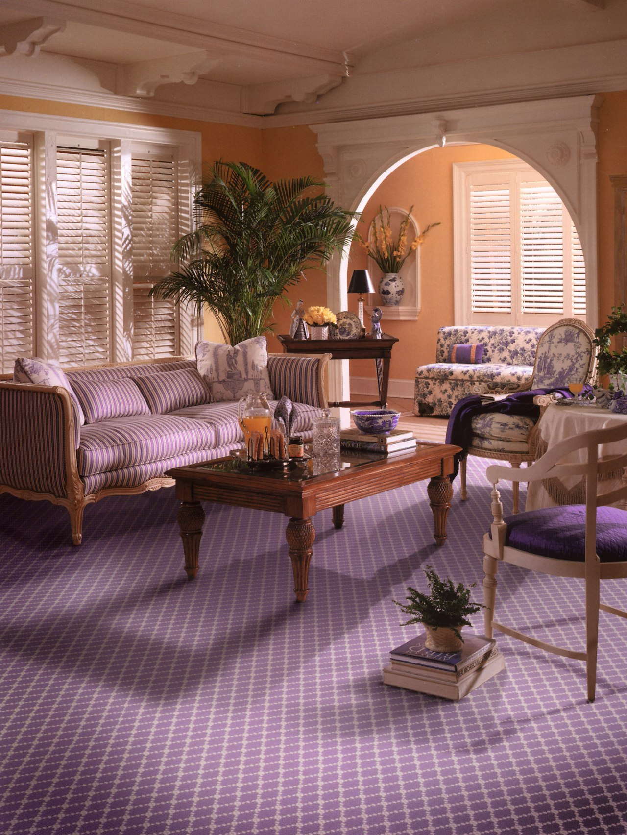 View of a living area, lavender coloured patterned floor, flooring, furniture, hardwood, home, interior design, living room, room, table, wood, brown