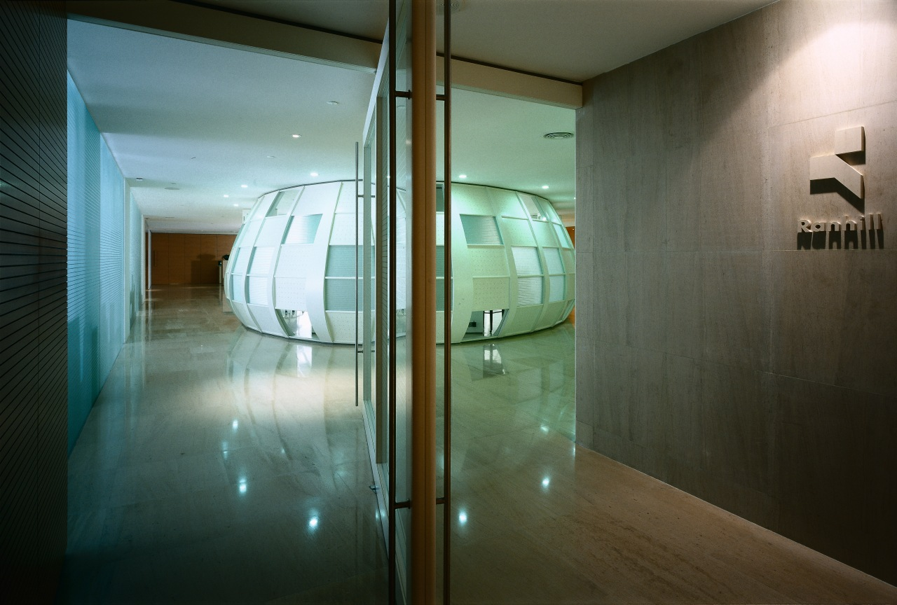 View of the offices, marble and limestone floor, architecture, ceiling, daylighting, glass, house, interior design, window, brown