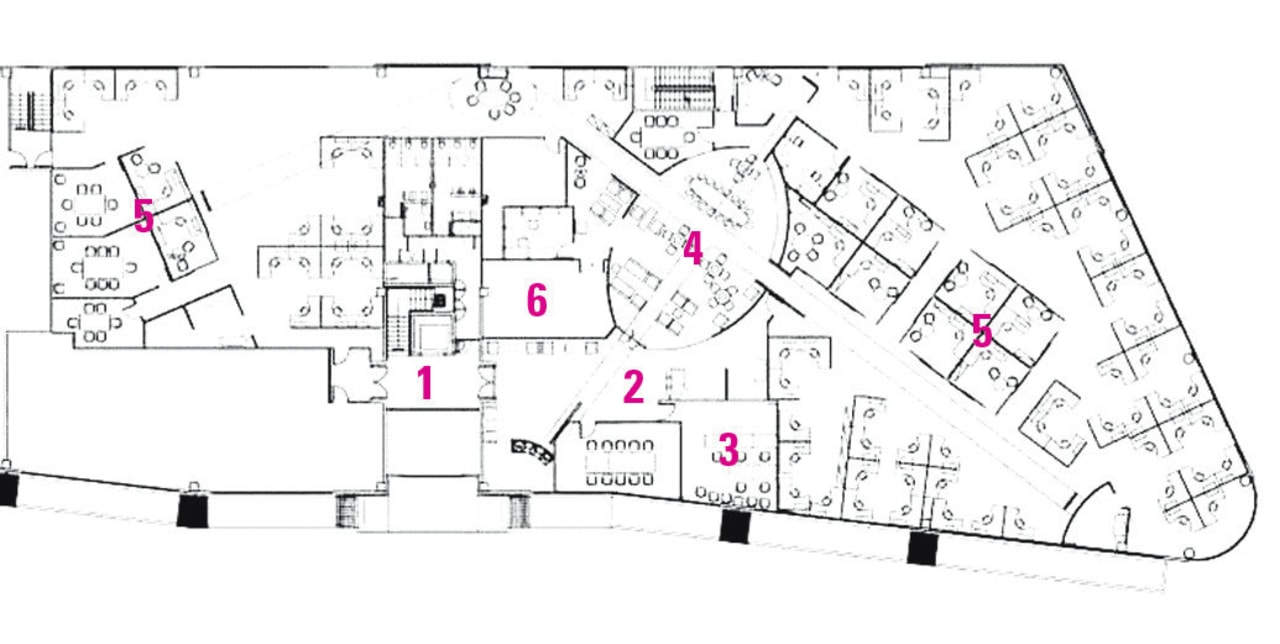Legend plan of the office. area, design, diagram, drawing, floor plan, line, plan, product design, white
