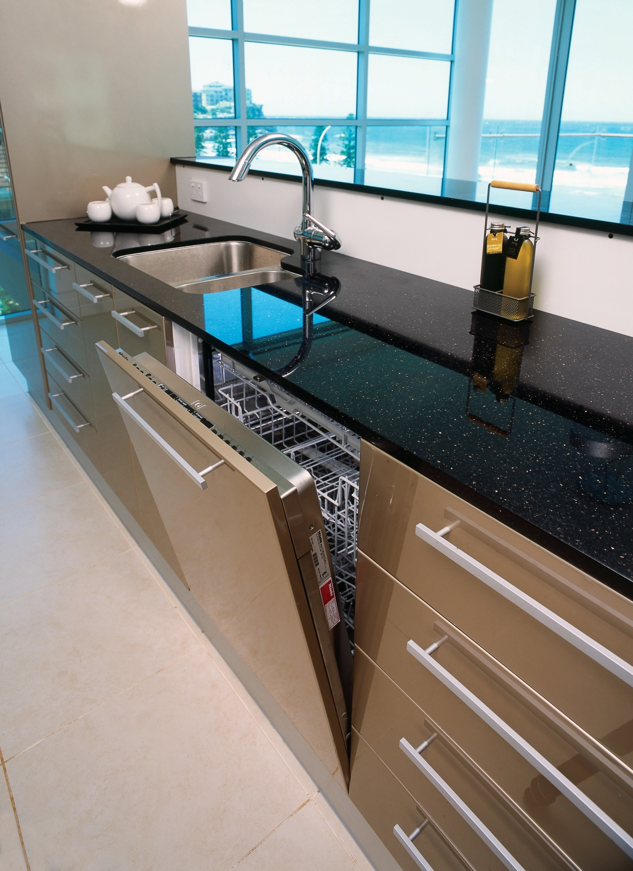 view of this colour coordinated dishwasher countertop, floor, interior design, kitchen, sink, gray