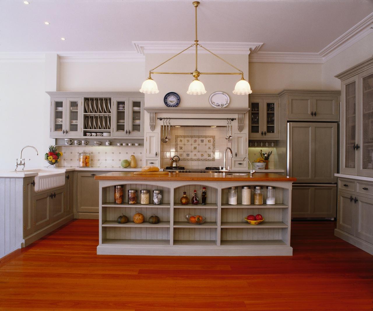 view of this custom designed one off kitchen cabinetry, countertop, cuisine classique, floor, flooring, furniture, hardwood, home, interior design, kitchen, room, wood flooring, gray, brown